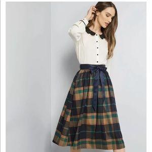 ModCloth Vintage Style Plaid Midi Skirt Size XL